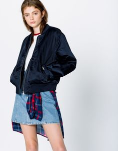 Pull&Bear - woman - bomber jackets - bomber jacket with embroidery on back…
