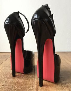 20cm Genuine Patent Leather Stiletto Platform Fetish Ankle Strap Heel Medium Round Toe