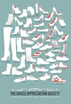 The Shoes Appreciation Society Infographic from Etsy by Niege Borges here. To see my popular post on the vocabulary of women's shoes go here.