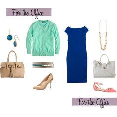 Zara Cobalt Dress Two Ways by caphillstyle on Polyvore featuring Zara, J.Crew, Sam Edelman, Olivia + Joy, Ivanka Trump, Argento Vivo, Chan Luu and White House Black Market
