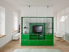 USM green Haller entertainment unit in USM green. www.usm.com