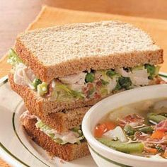 Turkey Salad Sandwiches - keep the romaine separate so leftovers aren't soggy, throw in a bit more peas than it calls for, serve on sun-dried tomato flatbread.  Yum!