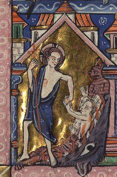 Carrow Psalter, Above: Deposition/Three Maries at the tomb; Below: Limbo/Resurrection, Walters Manuscript W.34, fol. 28v detail by Walters Art Museum Illuminated Manuscripts, via Flickr