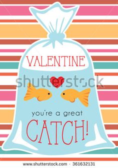 Two Goldfish in Bag Valentine You're a Great Catch with Heart and Striped Colorful Cheerful Background - stock vector