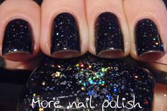 Stars Lament - is a black jelly polish with two sizes of holographic glitter