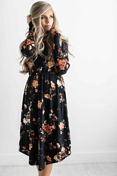 floral dress, floral, fall style, fall outfit, fall fashion, womens fashion, shop jessakae Women's Accessories - http://amzn.to/2hWwWYY