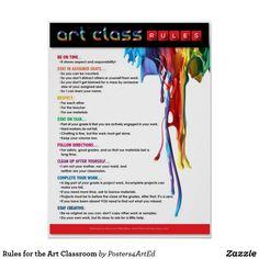 High School Art Sub Plans Printmaking - Education interests Art Classroom Rules, Art Classroom Posters, Art Room Rules, Art Room Posters, Art Classroom Management, Classroom Ideas, Classroom Organization, Classroom Displays, Behavior Management