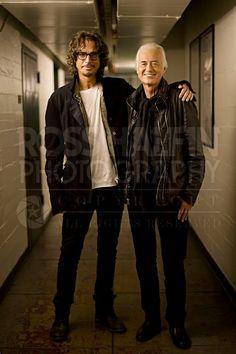 Chris Cornell (Soundgarden) and Jimmy Page in Los Angeles, United States, Nov. Photo by Ross Halfin photography. Jimmy Page, Chris Cornell, The Band, John Bonham, John Paul Jones, Robert Plant, Hard Rock, Led Zeppelin News, Say Hello To Heaven