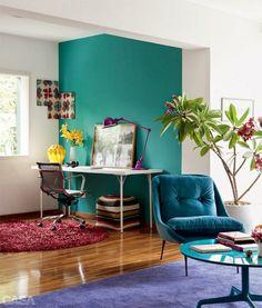 Tips para mujeres: Ideas para decorar un departamento pequeño #sillón #colores #escritorio