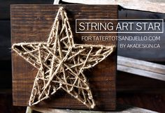 DIY String Art Star - 1. Cut and stain wood. 2. Trace star template onto wood with a pencil. 3. Starting at corners, hammer in one nail at each point. Then add nails at inner corners of traced star. Continue adding nails. 4. Tie one end of string (or jute/twine/hemp) around one nail. Weave string back & forth & all about through nails. When you have enough done, wrap string all around outside of star to give a solid outline. Tie off, trim and tuck in the loose end.