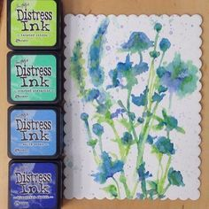 Still loving this color combination! So pretty! #Repost @jadanchik ・・・ Retake-Summer of Creative Chemistry 101. Challenge 1 - Brushless Watercolor. The stamps are from Tim's Wildflower Set. A lot of fun, but so unpredictable. Some of the flowers kind of got away from me! @onlinecardclasses #onlinecardclasses #summerofcreativechemistry
