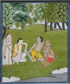 Krishna with his playmates Hanuman, Balarama and Radha on the banks of River Kalindi
