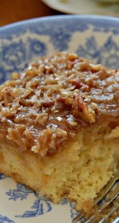 Lazy Daisy Hot Milk Cake | Cozycakes Cottage | we use pecans on top of our glaze - no coconut