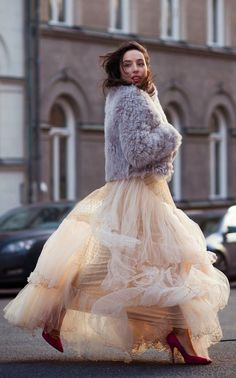 Faux Fur and Tulle Dress with Pink Fabulous Street Outfits