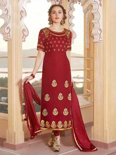 Red Silk Partywear Straight Cut Suit Churidar, Salwar Kameez, Latest Designer Sarees, Designer Dresses, Duppata Style, Silk Anarkali Suits, Indian Dresses Online, Lehenga Style, Indian Ethnic Wear