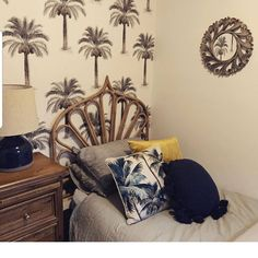 Our Palm Trees wallpaper 🌴 Tropical Wallpaper, Tree Wallpaper, Palm Trees, Throw Pillows, Bed, Home, Palm Plants, Cushions, Tropical Background