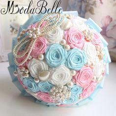 Modabelle Romantic Silk Roses Bridal Bouquet With Pearls 2017 Handmade Wedding Flowers Bridal Bouquets Brooch Bouquet De Mariage