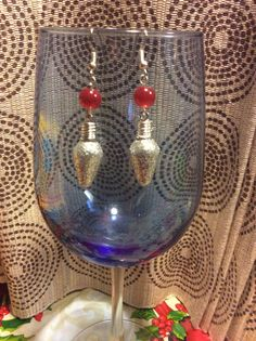 Christmas red glass beaded dangle earrings by Createdtreasures23
