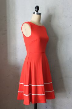 COQUETTE in POPPY - Poppy red dress with pocketsvintage inspired. $68.00, via Etsy.