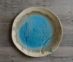 Placa de cerámica hecha a mano, cerámica que sirve plato, playa Coral, turquesa, náutica plato, vajilla hecha a mano, placa de la torta