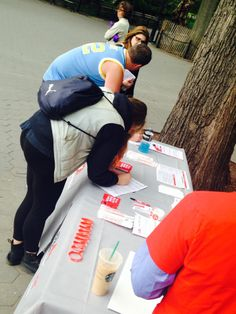 People signing up to get swabbed