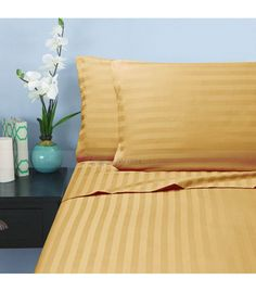 Gold Stripe Double Egyptian Cotton Sheet Set 1000 Thread Count
