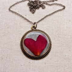 pressed flower necklace rose heart cute out