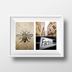 Manchester Bee Mix / Manchester Bee / Factory Records / Central Library / Manchester Mix / Montage by MartynHeathPhoto on Etsy