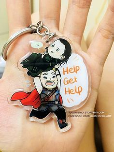 For the family loves of Asgard!! After many troubles Thor and Loki is now going home together as brothers~♥ You can have their charm version together too! [tab]> Clear acrylic 6cm in size > double side printed > coated epoxy one side > Key ring access. Full set of 3 will give you lower