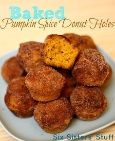 Baked Pumpkin Spice Donut Holes- these melt in your mouth! Made in a mini-muffin tin. SixSistersStuff.com #donuts #pumpkin #dessert