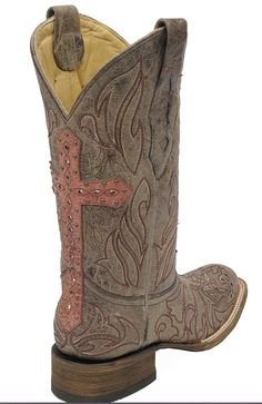 Stages West: NEW! Corral ® Ladies Back Overlay Cross And Crystal Square Toe Boot