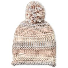 Steve Madden A Time To Shine Beanie ($15) ❤ liked on Polyvore featuring accessories, hats, ivory, pom pom beanie, beanie cap, striped hat, white winter hat and stripe beanie