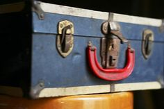 Vintage red white and blue wood and metal by WoodenStoolVintage, $48.02