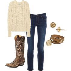 I would love this outfit except for the boots. Not big on cowboy boots. Maybe substitute those for some suede/fleece boots, or ballet flats (depending on the weather).