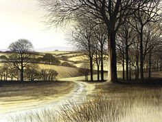Kathleen Caddick. Born in Liverpool in 1937 but brought up in Buckinghamshire, Kathleen is best known for her etchings of trees silhouetted against winter skies with bleached grasses, cow parsley, distant hills and snow. http://rostragallery.co.uk/index.php/artists-a-z/item/103-kathleen-caddick