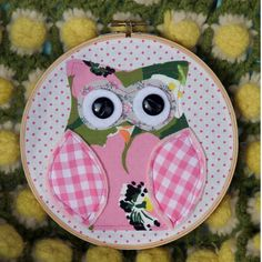 ♥ this!  Handmade Embroidery Hoop wall art- Little PInk Owl. $14.99, via Etsy.