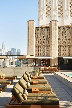 Terraza en el ático del Ace Hotel, en Los Ángeles.