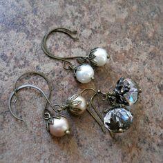 Earring Wardrobe in Brass, Swarovski Pearl and Crystal Earrings, 3 Pairs of Earrings. $24.00, via Etsy.