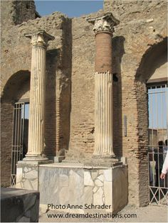 Columns outside the theatre Pompeii, Italy