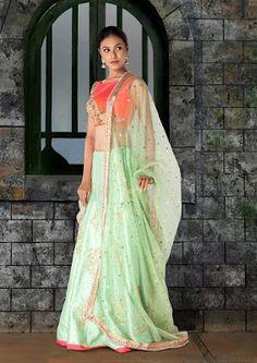 Zen Fashions: Pink And Mint Green Lehenga Adorn In Zardosi Work ...