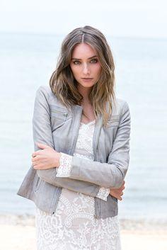 Model wears New York Jacket, Size 8, Grey