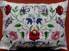 Hungarian Folk art - an emroidered pillow from Kalocsa