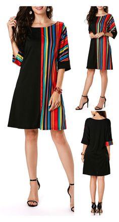 Black Tunic Dress, Striped Dress, Dress Outfits, Casual Dresses, Fashion Dresses, Women's Tunic Dresses, Fashion Shoes, Block Dress, Fashion Mode