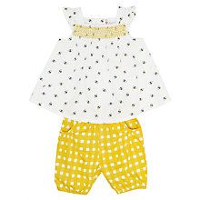 Baby girls bee print top and shorts set in white and lemon.  So cute.  Buy from John Lewis.