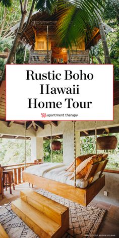 Rustic Bohemian Hawaii Home Surrounded by Jungle Hawaiian Home Decor, Hawaiian Homes, Tropical Home Decor, Tropical Houses, Hawaiian Bedroom, Hawaii Apartment, Jungle House, Tropical Bedrooms, Hawaii Life