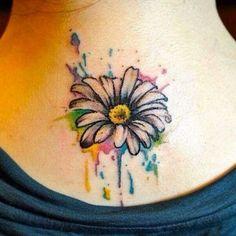 Watercolor Daisy Tattoo Design