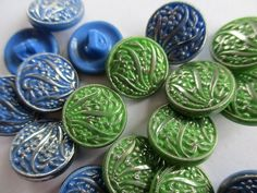 VINTAGE GLASS BUTTONS BLUE & GREEN SILVER FLOWERS & LEAVES 19 pcs. 13 mm. noelhumphrey on eBay.co.uk