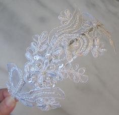 White Lace Headband, Bridal Headband, Bridal Fascinator, Pearls and Sequins - JANELLE. $46.00, via Etsy.