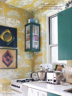Teal and yellow kitchen (I miss you so much, domino magazine!)