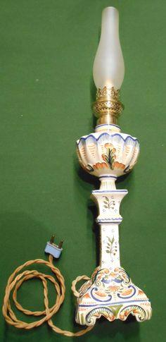 Ancienne Lampe Faience DE Desvres Decor Rouen | eBay